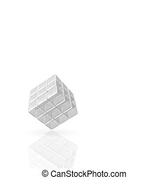 3D Glass Cube on white Background