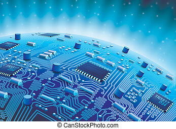 World Circuit - Digital Illustration of a Circuit Board...