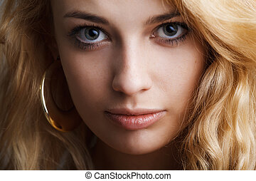 closeup portrait of beautiful lady
