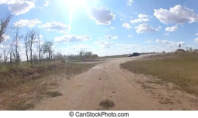 Driving on a dirt road