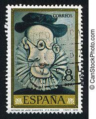 Jaime Sabartes - SPAIN - CIRCA 1978: stamp printed by Spain,...