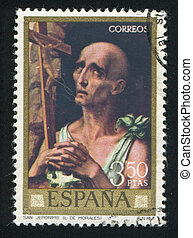 Saint Jerome - SPAIN - CIRCA 1970: stamp printed by Spain,...