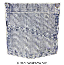jeans pocket on white  background
