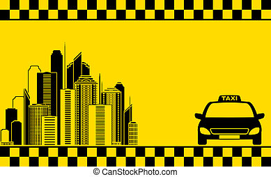urban business card with taxi