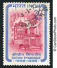 Interior of Cochin Synagogue - INDIA - CIRCA 1968: stamp...