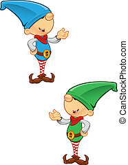 Elf Mascot - Presenting - Two different colored vector...