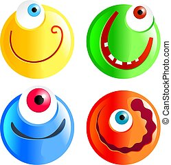 cyclops smilies - set of funny cartoon smilie face cyclops...