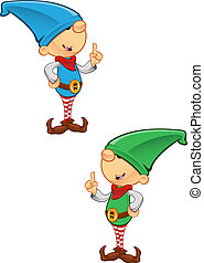 Elf Mascot - Having An Idea - Two different coloured vector...