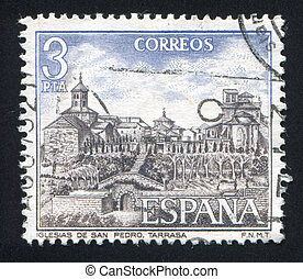 San Pedro Church - SPAIN - CIRCA 1975: stamp printed by...