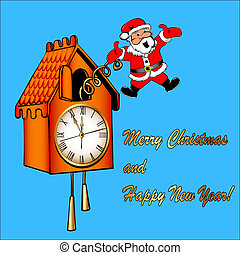 Santa Claus congratulates from a cuckoo clock - the...