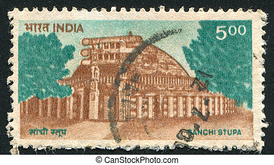 Sanchi Stupa - INDIA - CIRCA 1994: stamp printed by India,...