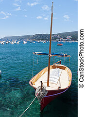 anchored sailboats in sea, Spain - anchored sailboats in...