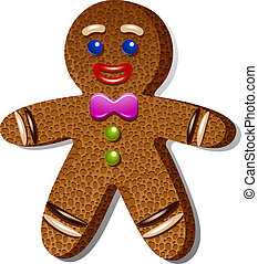 Gingerbread man over white. EPS 10, AI, JPEG