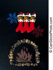 Fire place decoration with Christmas sock and snow flake