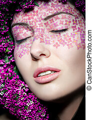 Close up portrait of model makeup with eyes shut - Close up...