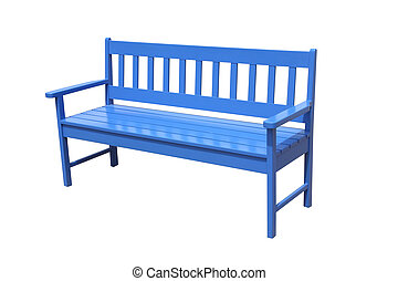 Perspective blue wooden bench on white background.