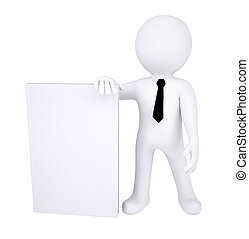 3d human with a white book without a title