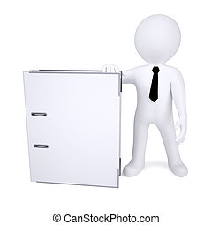 3d human with white office folder