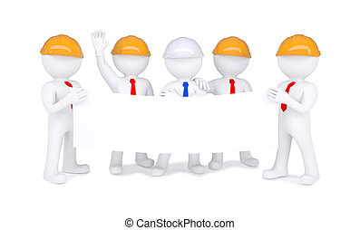 Five 3d little men in helmets holding white poster. Isolated...