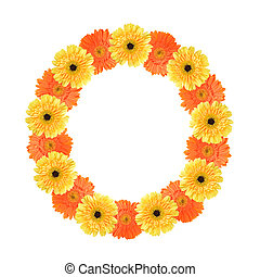 Alphabet O created by flower - Yellow and orange...