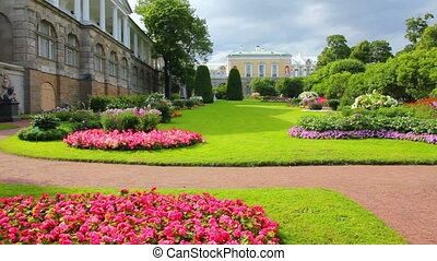 flower garden in Pushkin park St Petersburg Russia