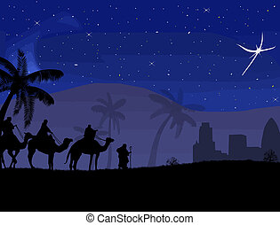 Classic three magic scene and shining star of Bethlehem,...