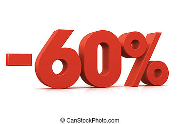 Percentage -60% - 3D Render of 60 percent negative in white...