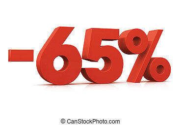 Percentage -65 - 3D Render of 65 percent negative in white...