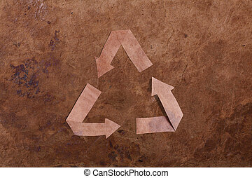 Old parer background with recycle sign