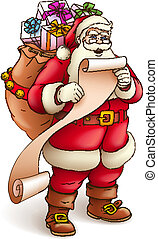 Santa Claus with sack full of gifts reading paper list -...