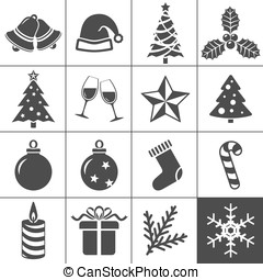 Christmas icons set - Simplus series - Christmas Icons. Each...