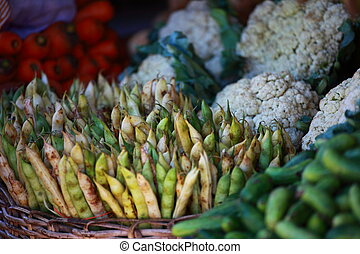 Various vegetables at vegetable market India