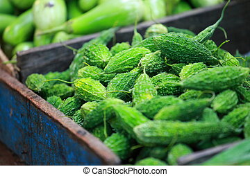 paprica, 傳統, 印度, 綠色, 蔬菜, 市場
