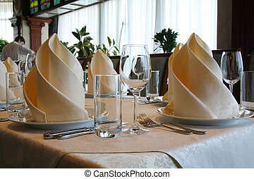 Banquet table in a restaurant - Banquet table in the...