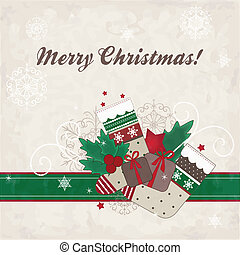 Christmas card with gifts, stocking