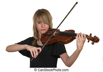 Violin - A beautiful young teenager playing her violin