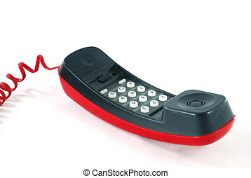 Red phone on white background 2