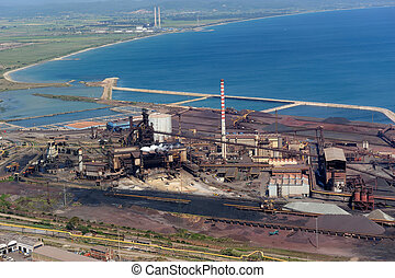 Blast furnace - Aerial view of Piombino steelworks in...
