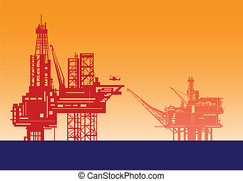 Oil rigs. - Oil rig structures in red silhouette.