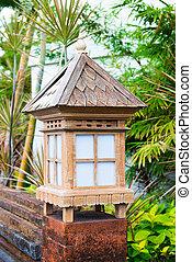 Balinese lanterns in the tropical garden