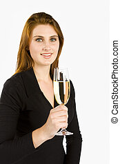 Toasting with Champagne - Woman toasting with a glass of...