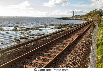 Train tracks to power station in Central Scotland