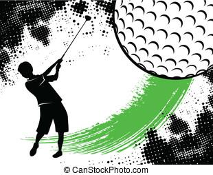 golfe, fundo, com, Menino, Balançando
