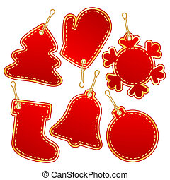 christmas label design elements - christmas red label design...