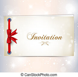 invitation card with red bow. Vector illustration