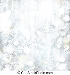 Glittering silver Christmas background with blurred lights -...