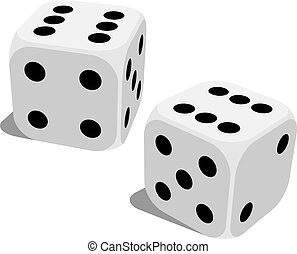 White dice with double six roll - Vector illustration of...
