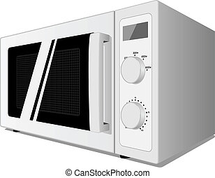 Microwave oven isolated on white - Vector illustration of...