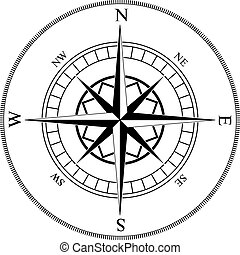 Compass winds rose black and white vector shape.