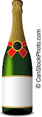 Sealed blank champagne bottle - Vector illustration of...